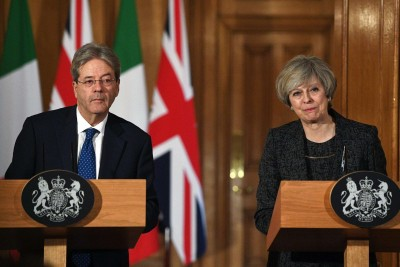 Conferenza stampa di Paolo Gentiloni e Theresa May a Londra