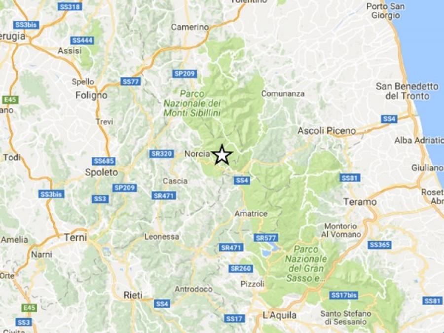 Scossa di terremoto 3.8 tra Norcia, Accumoli e Arquata