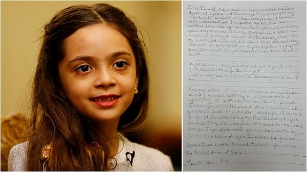 "Girl, 7, tells Trump: ""Help Syria and I'll be your friend"""