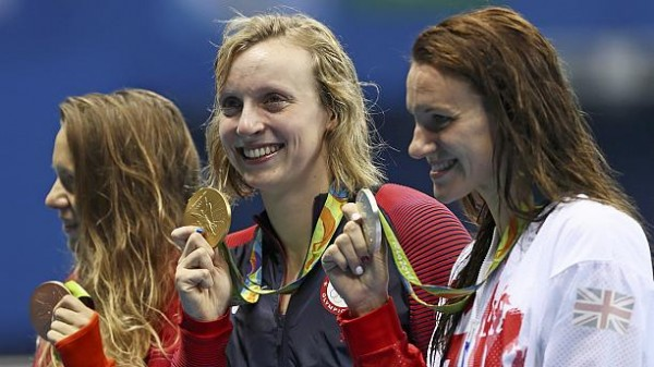 Ledecky wins 800-metres freestyle, completes rare Olympic swimming treble