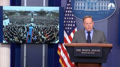 White House press secretary blasts media over Trump inauguration crowd