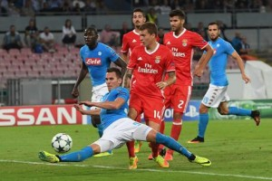 Soccer: Napoli thump Benfica to stay perfect in Champions League