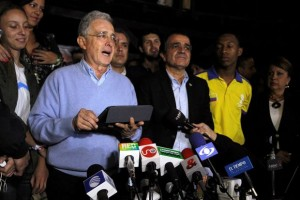 Colombia's former President Alvaro Uribe during a press conference